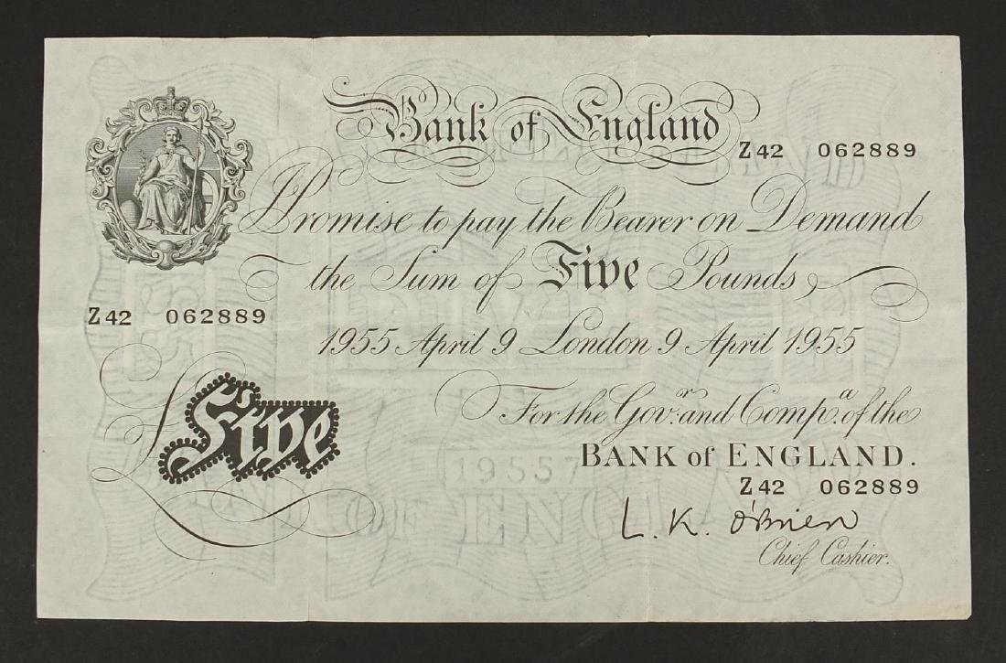 Bank of England O'Brien white five pound note, dated April 9th 1955, serial number Z42062889 Further