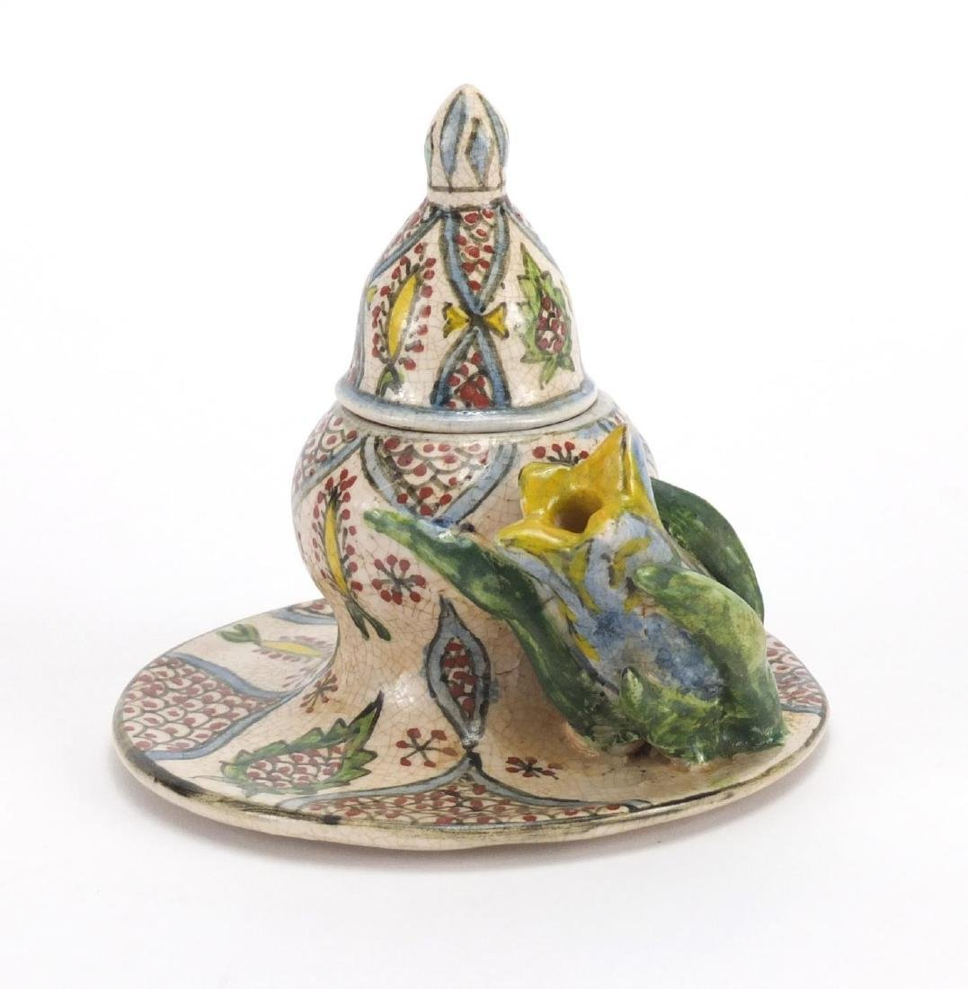 Turkish Kutahya pottery inkwell hand painted with folite motifs, 11.5cm high Further condition