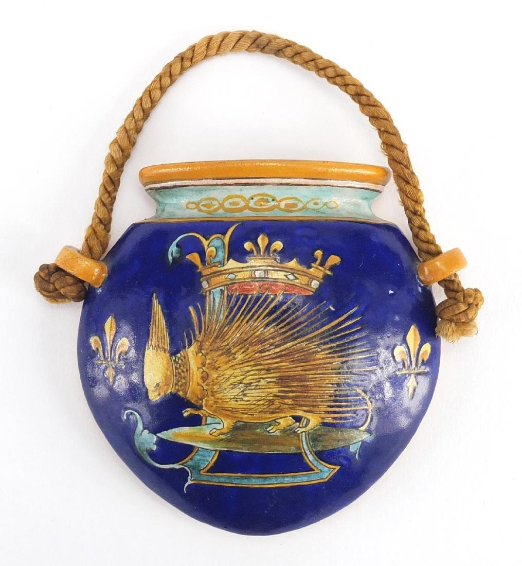 French Ulysse Blois E. Balon Majolica pottery wall pocket, hand painted with a mythical animal,