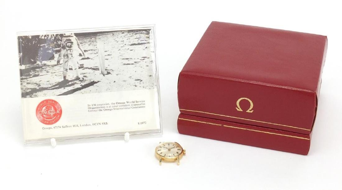 Ladies 9ct gold Omega wristwatch, numbered 30210220 to the movement, with an Omega box and papers