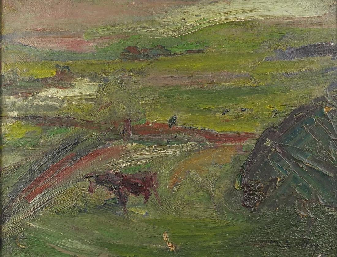 Abstract composition, farmland with cattle, oil on canvas board, bearing an indistinct signature