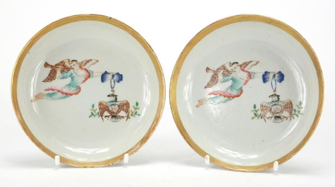 Pair of Chinese porcelain dishes, both hand painted in the famille rose palette with angel and eagle