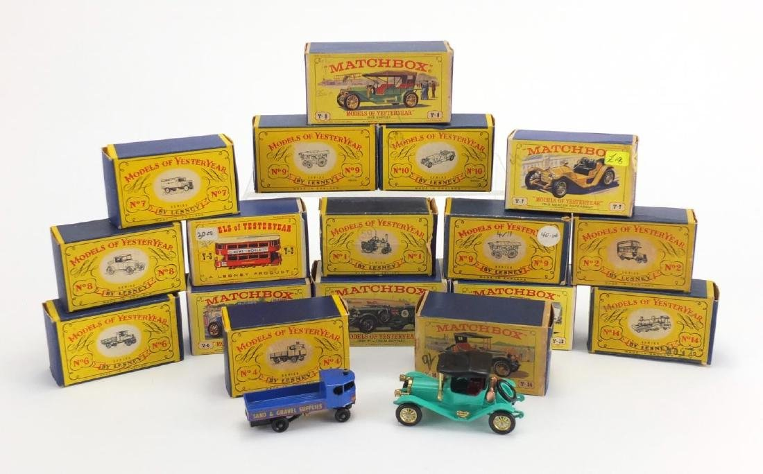 Matchbox models of Yesteryear die cast vehicles including Y-6 Bentley, Y-13 1911 Daimler and Y-6