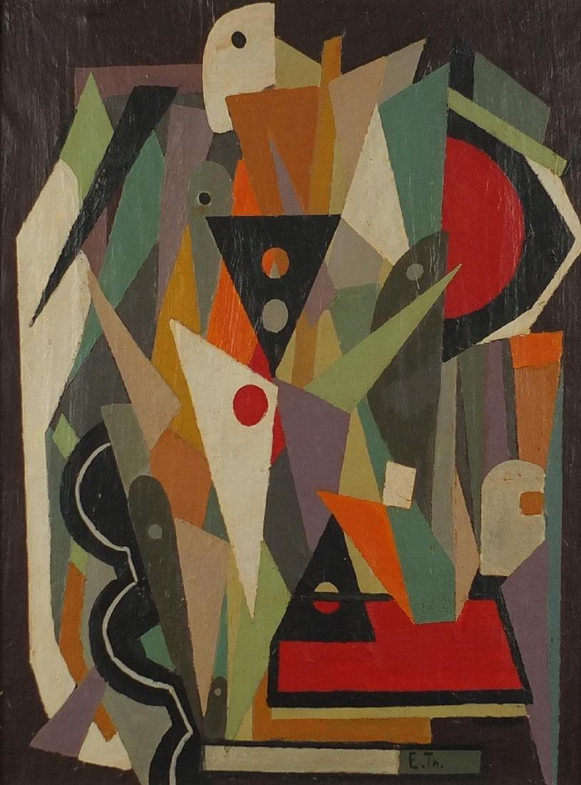 Abstract composition, geometric shapes, oil on canvas, bearing a monogram E TH, mounted and