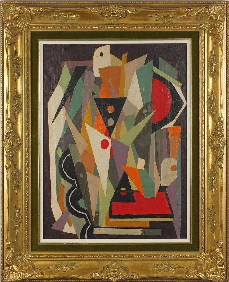 Abstract composition, geometric shapes, oil on canvas, bearing a monogram E TH, mounted and - 2