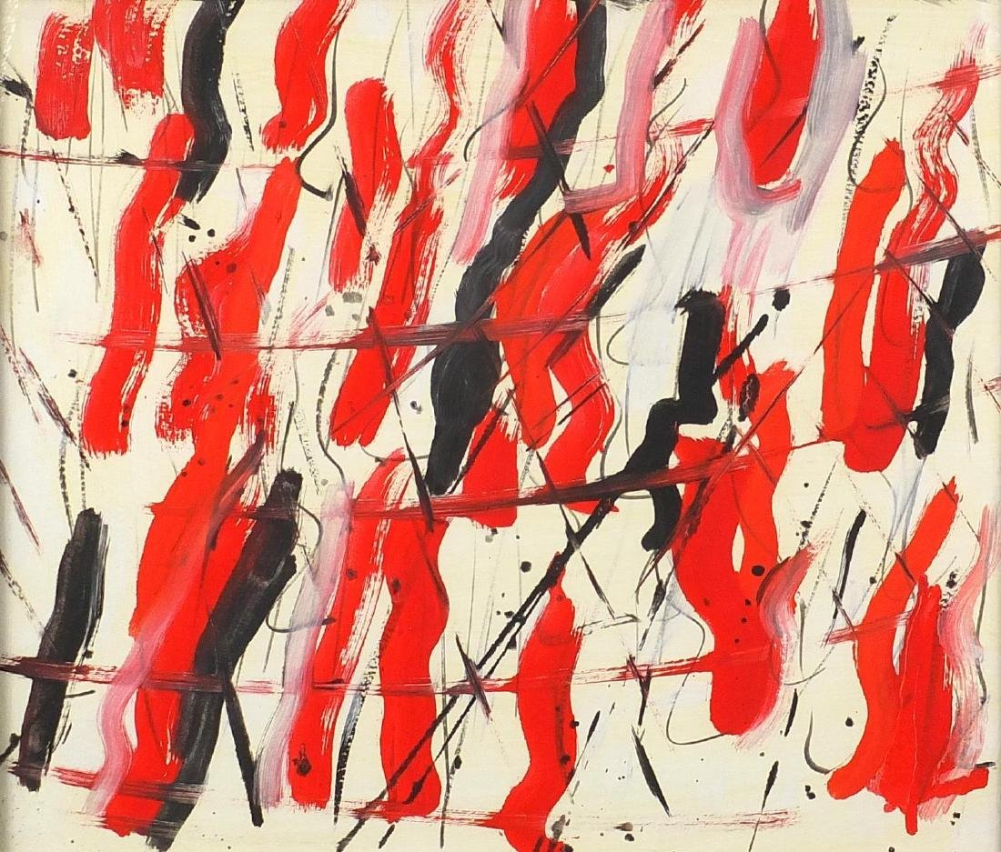 Abstract composition, oil on paper laid on canvas, bearing an indistinct signature Brimay verso,