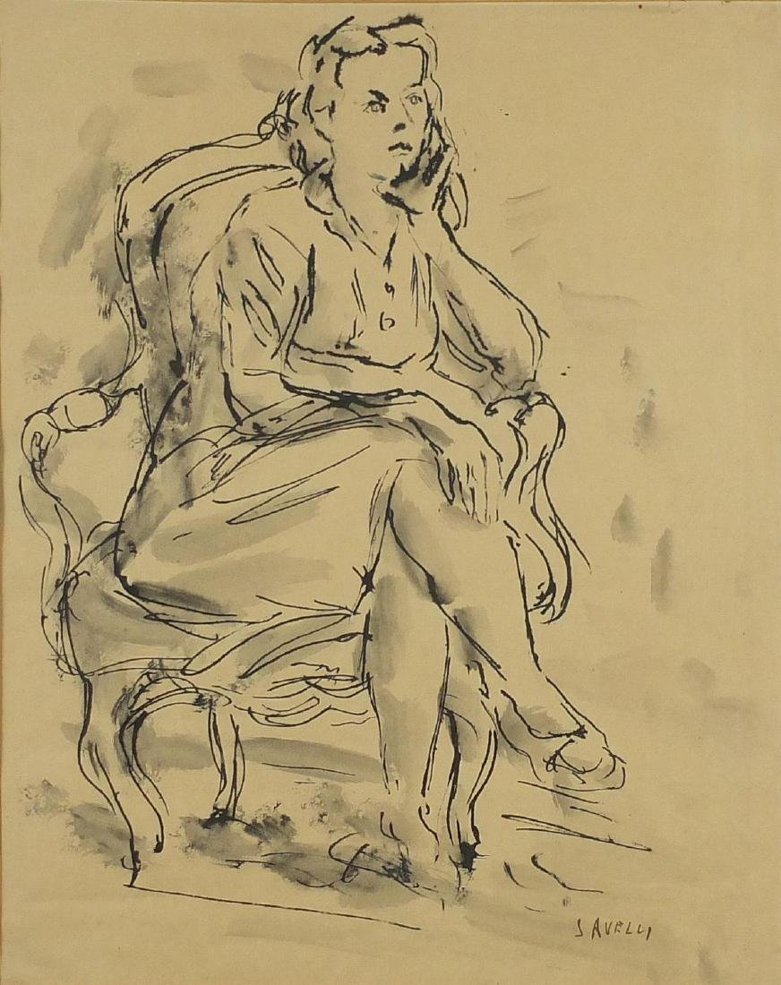 Angelo Savelli - Female seated in an armchair, ink sketch on paper, mounted and framed, 34.5cm x