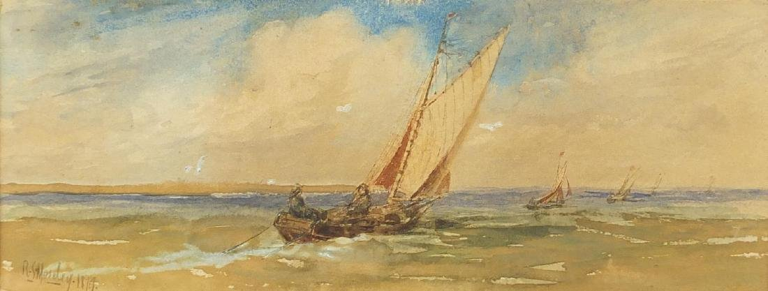 R S Moseley 1819 - Sailing boats on calm sea, 19th century maritime watercolour, mounted and framed,