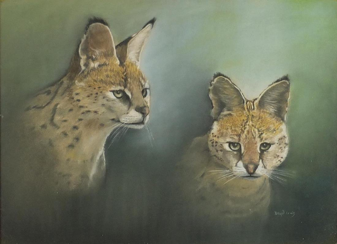 Brian Lewis - Two fennec foxes, pastel on paper, framed, 59cm x 43cm Further condition reports can