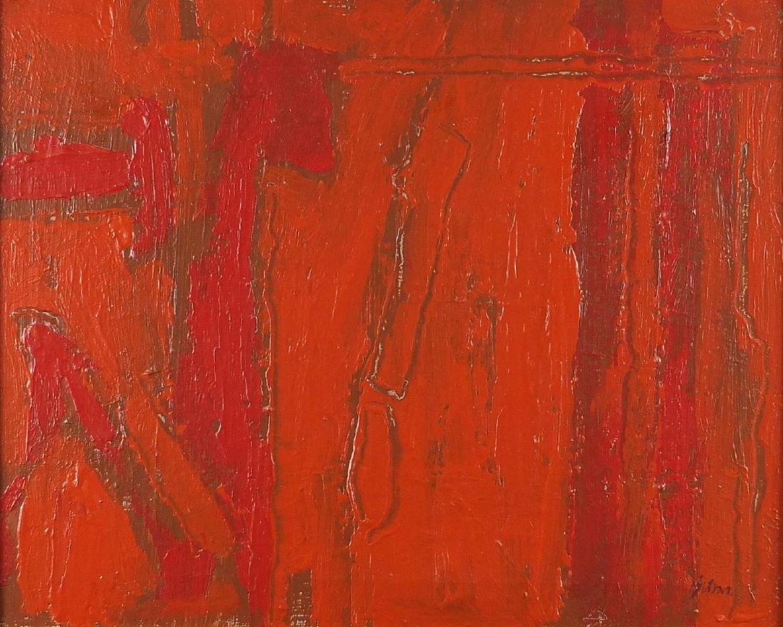 Abstract composition, red monochrome oil on canvas, bearing a signature Bitran and inscription