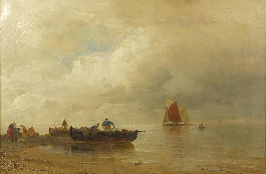 Lakeshore with fishing boats, 19th century oil on canvas, indistinctly signed to the lower right,