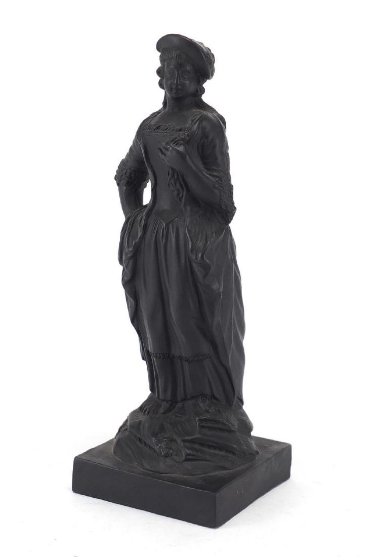 19th century English basalt figure of a lady in traditional dress, 21.5cm high Further condition