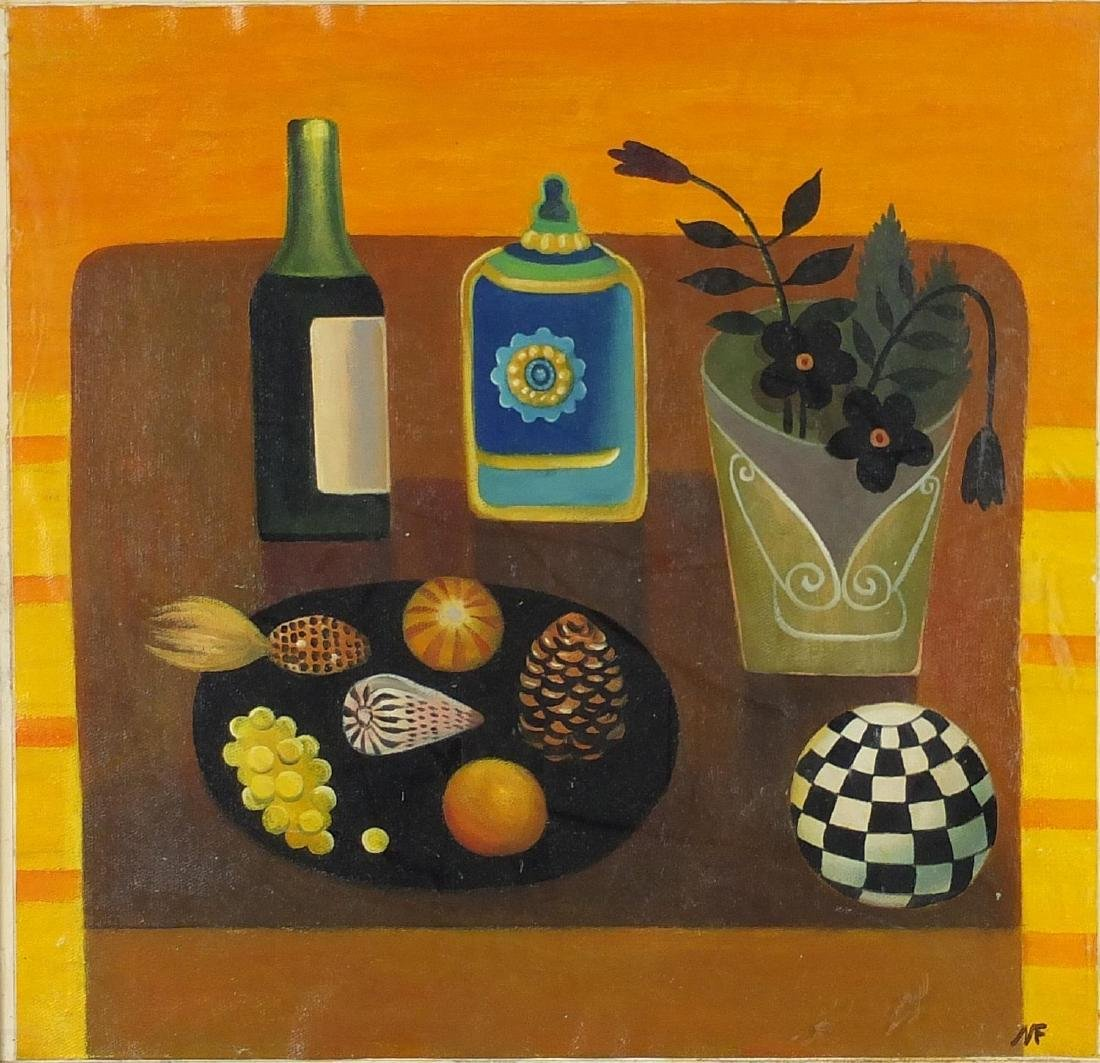 After Mary Fedden - Still life items on a table, oil on canvas laid on board, framed, 42.5cm x