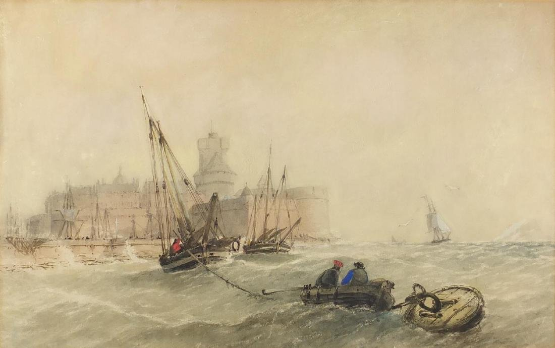 Attributed to Sydney Herbert - Flemish coast, 19th century English school maritime watercolour,