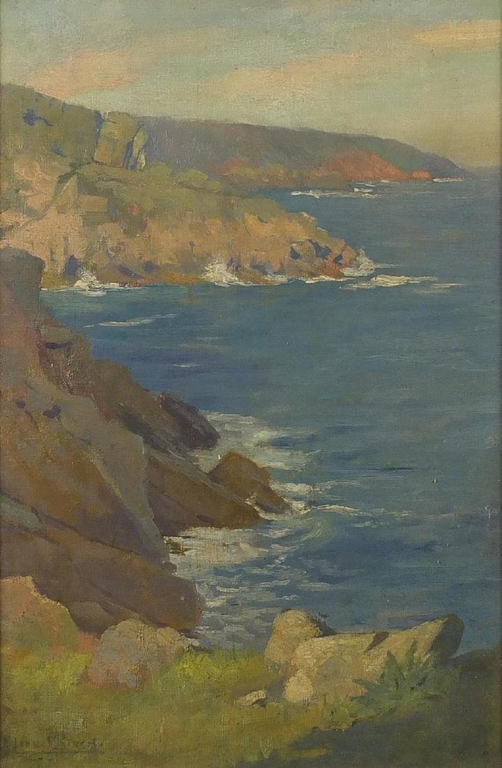 Lionel Birch - Rocky coastal scene, oil on canvas, mounted and framed, 44cm x 28cm Further condition