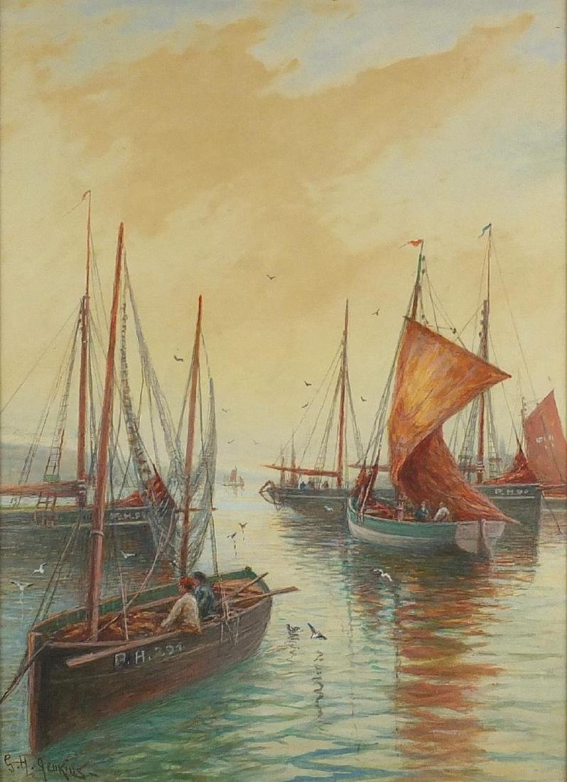 George Henry Jenkins - Moored fishing boats, watercolour on card, mounted and framed, 49cm x 35.