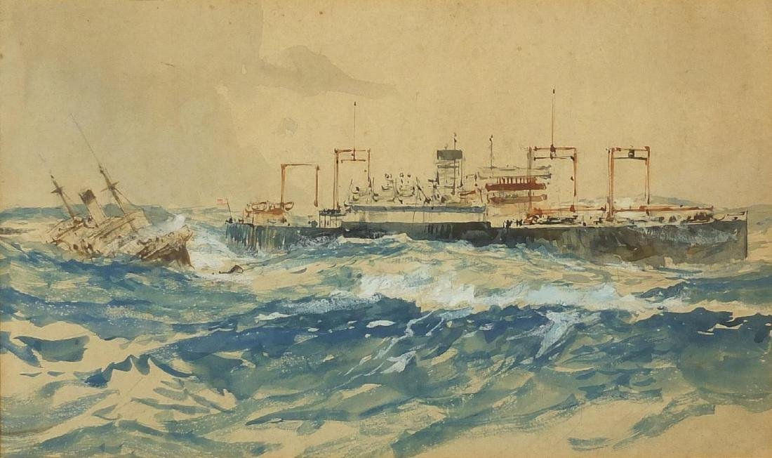 Manner of Charles Dixon RI - US cargo ship, maritime heightened watercolour, The Hampton Hill