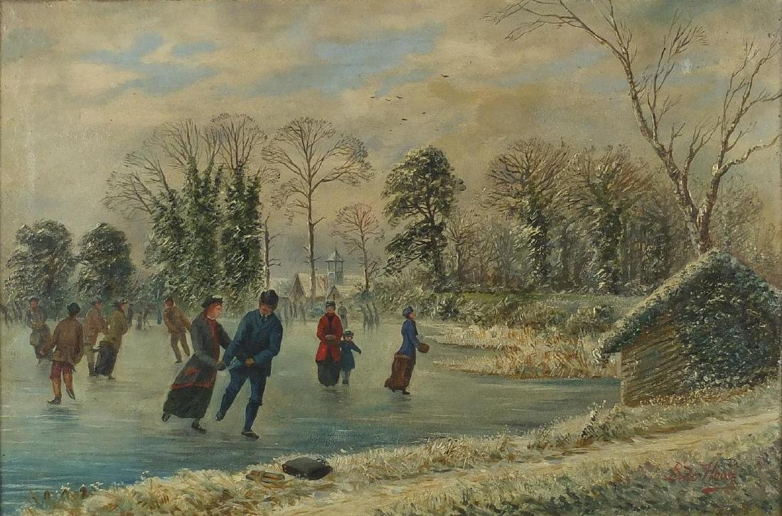 Attributed to Bernard Johann De Hoog - Dutch snowy landscape with figures skating, 19th century
