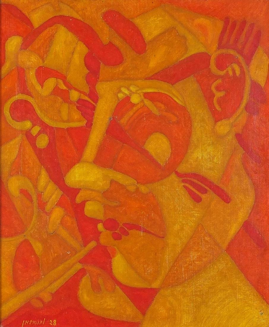 Abstract composition, surreal head, oil on canvas, bearing a signature Chemin, mounted and framed,