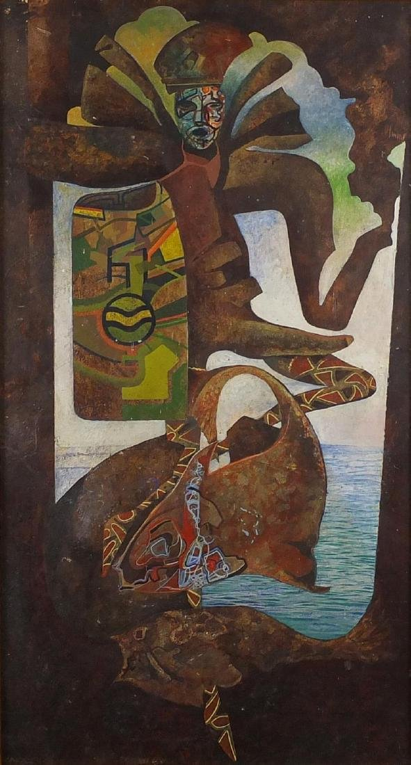 Abstract composition, mythical sea creature, South American school oil on board, bearing and