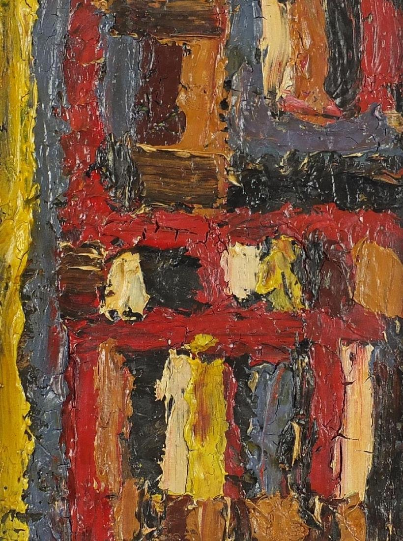 Abstract composition, impasto oil on board, bearing an inscribed label verso, framed, 40cm x 30cm