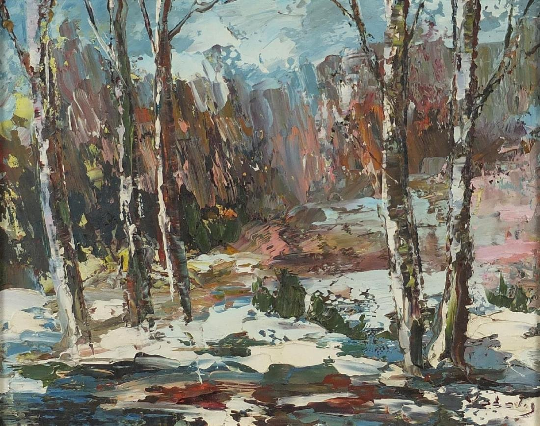 Snowy woodland, Russian school oil on board, bearing a signature Vadoly and inscriptions verso,