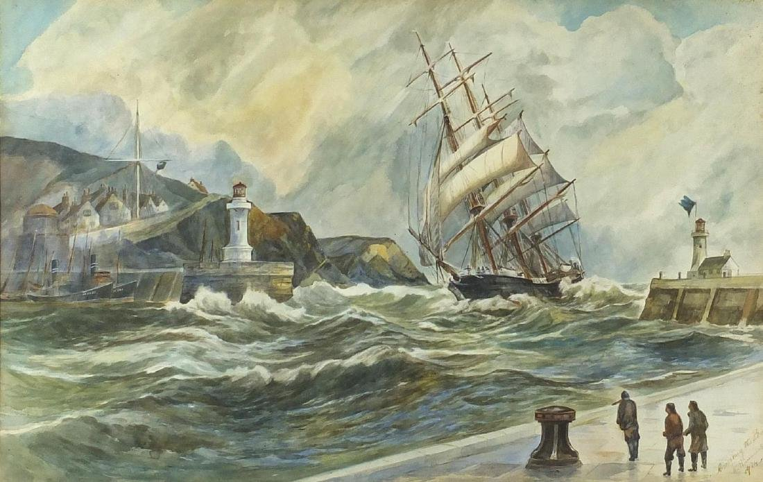 W Simmons - Crossing the bar, clipper on choppy seas, early 20th century watercolour on card,