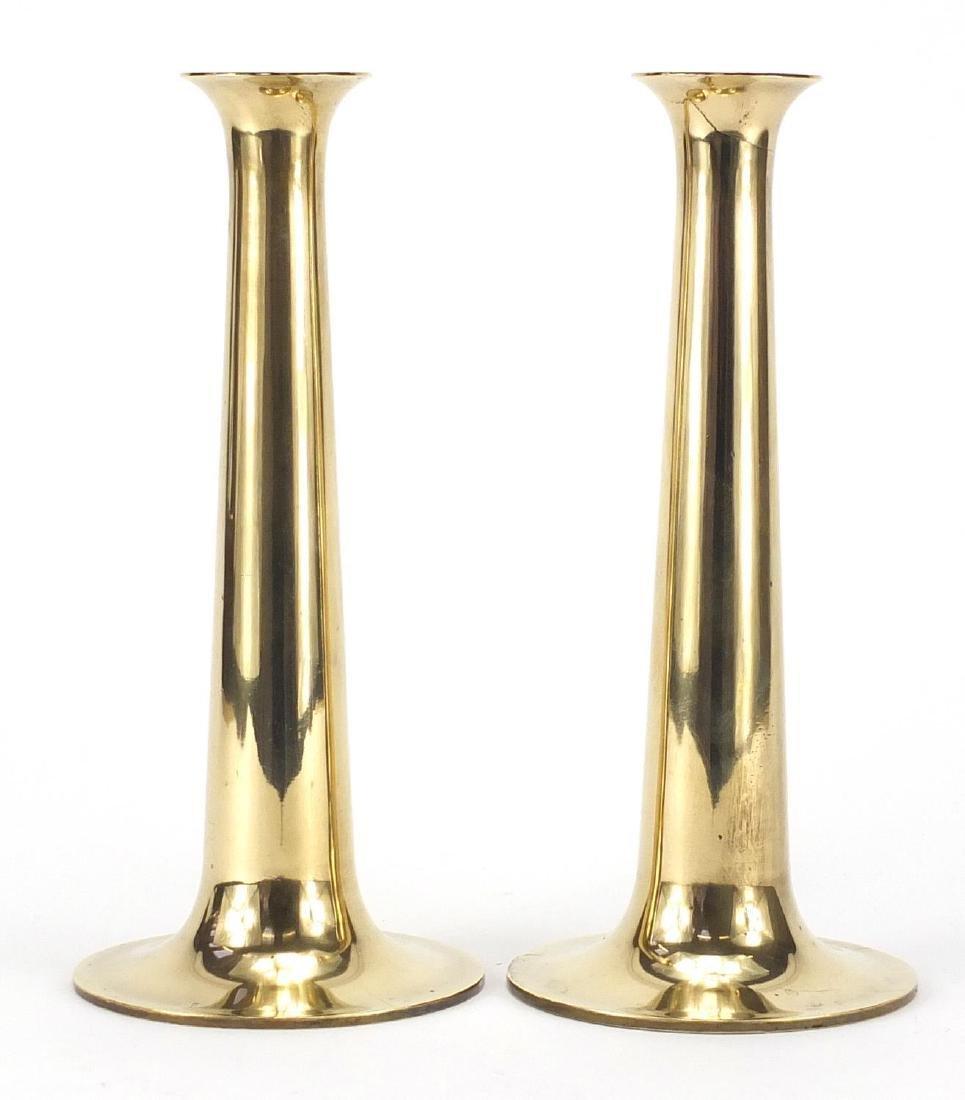 Pair of Modernist Danish brass candlesticks by Torben Ørskov & Co of tapering form, each 22cm high