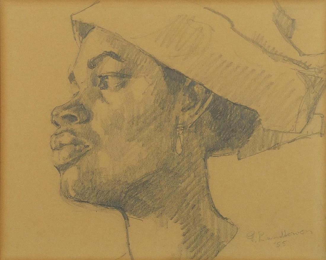 Portrait of an African man, pencil sketch on paper, bearing signature Landkwon, mounted and
