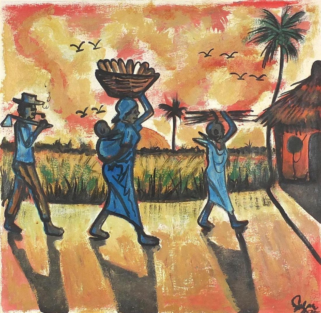 Figures walking through an African village at sunrise, oil on paper, bearing an indistinct