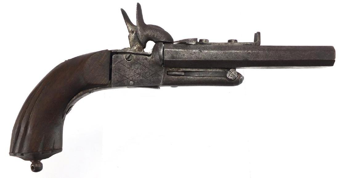 19th century French double barrel pocket pistol with wooden grip, 22cm in length Further condition