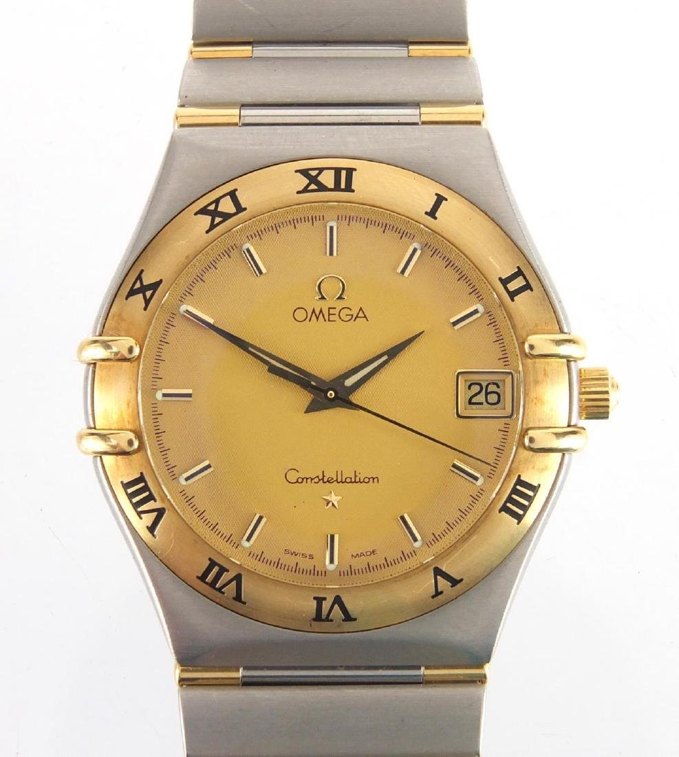 Gentleman's Omega Constellation wristwatch with date dial, numbered 57250269 to the case, with box