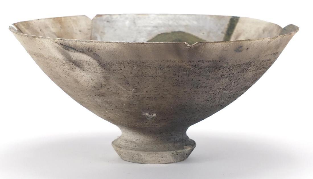 David Howard Jones Raku bowl with flared rim, incised initials around the foot rim, 20cm in diameter
