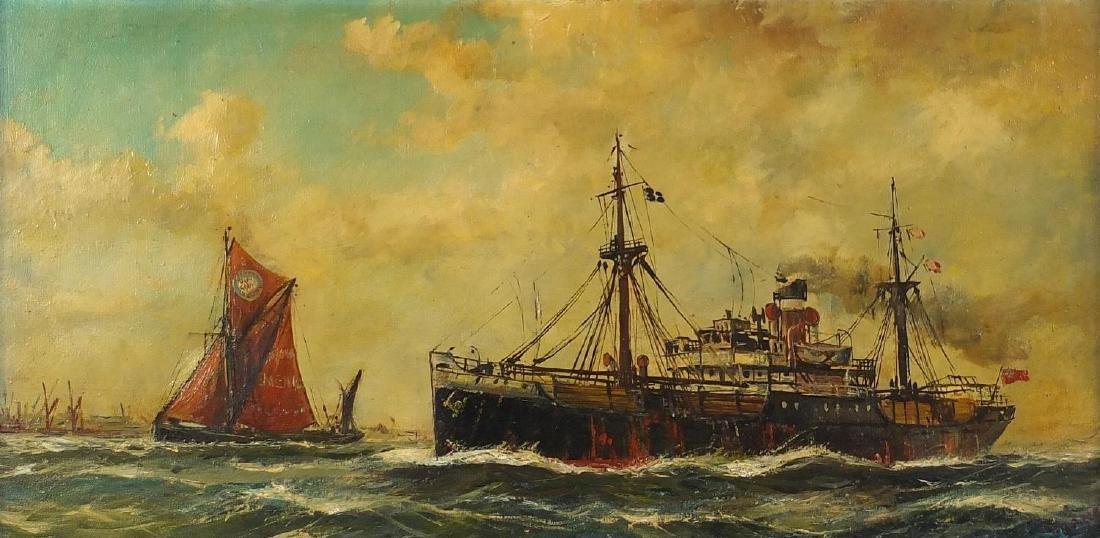 Francis - Cargo S, Dirty British coaster, Maritime interest oil on canvas, framed, 79cm x 39cm