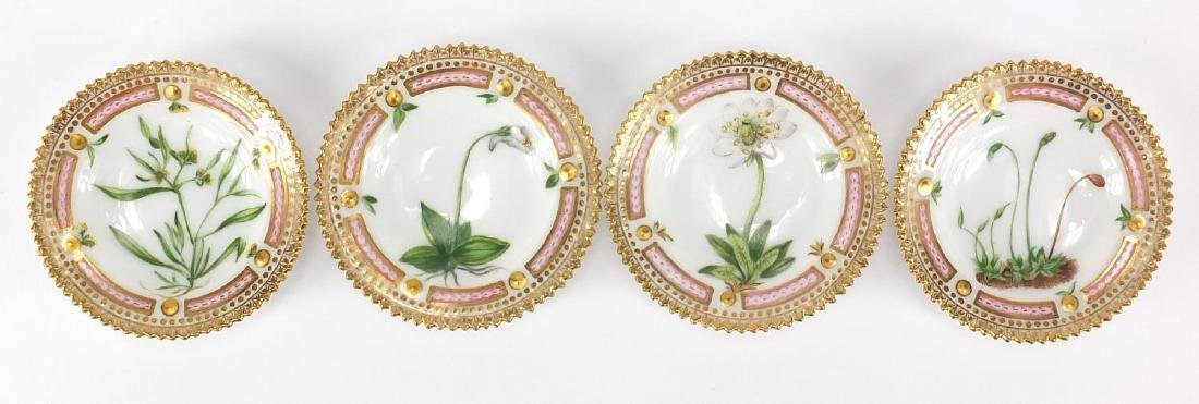 Set of four late 19th century Royal Copenhagen floral danica style dishes, each hand painted with