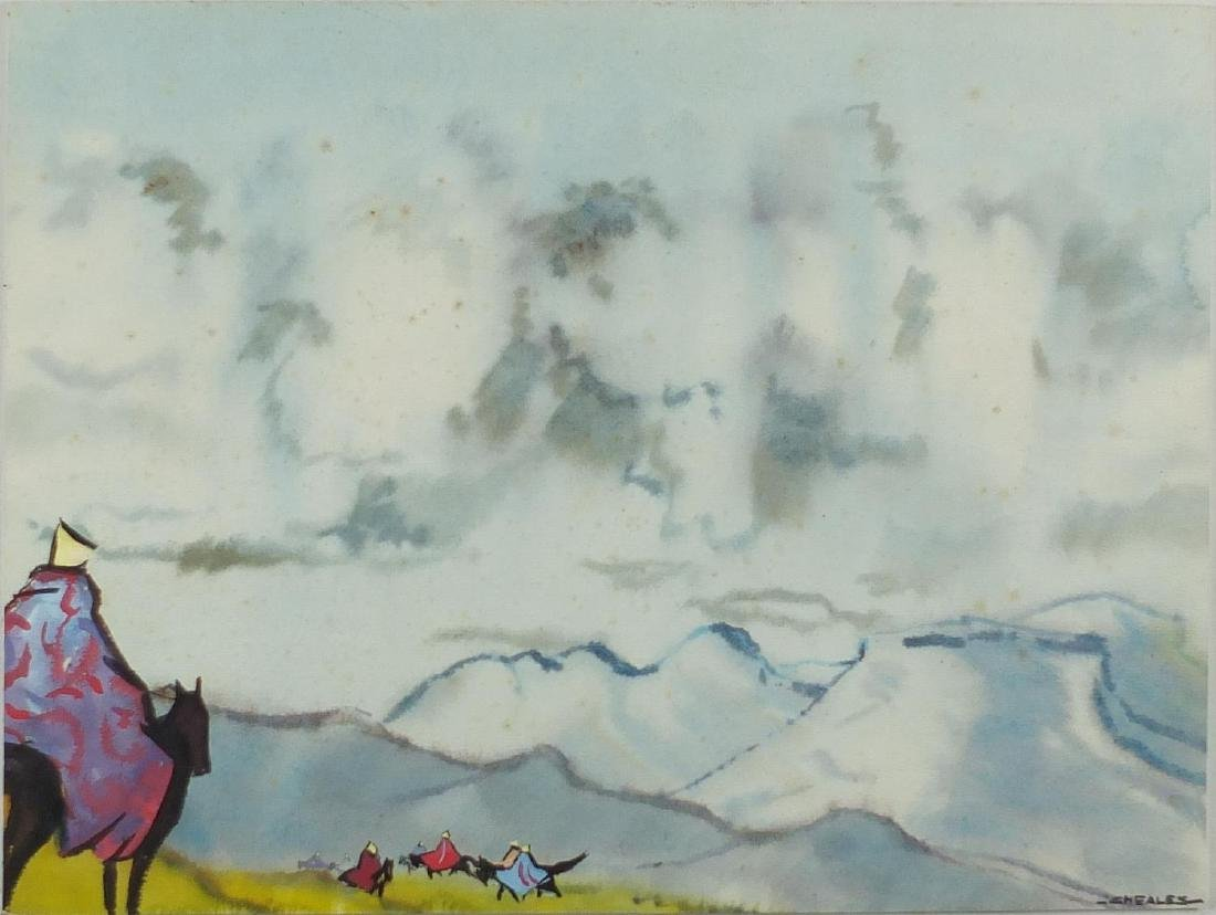 Richard Cheales - Basutho horsemen in a stormy landscape, mixed media onto board, label verso,