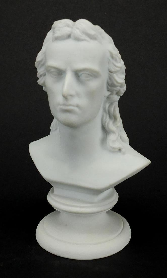 Meissen Parian bust of a gentleman, blue cross sword marks to the base, 12.5cm high Further
