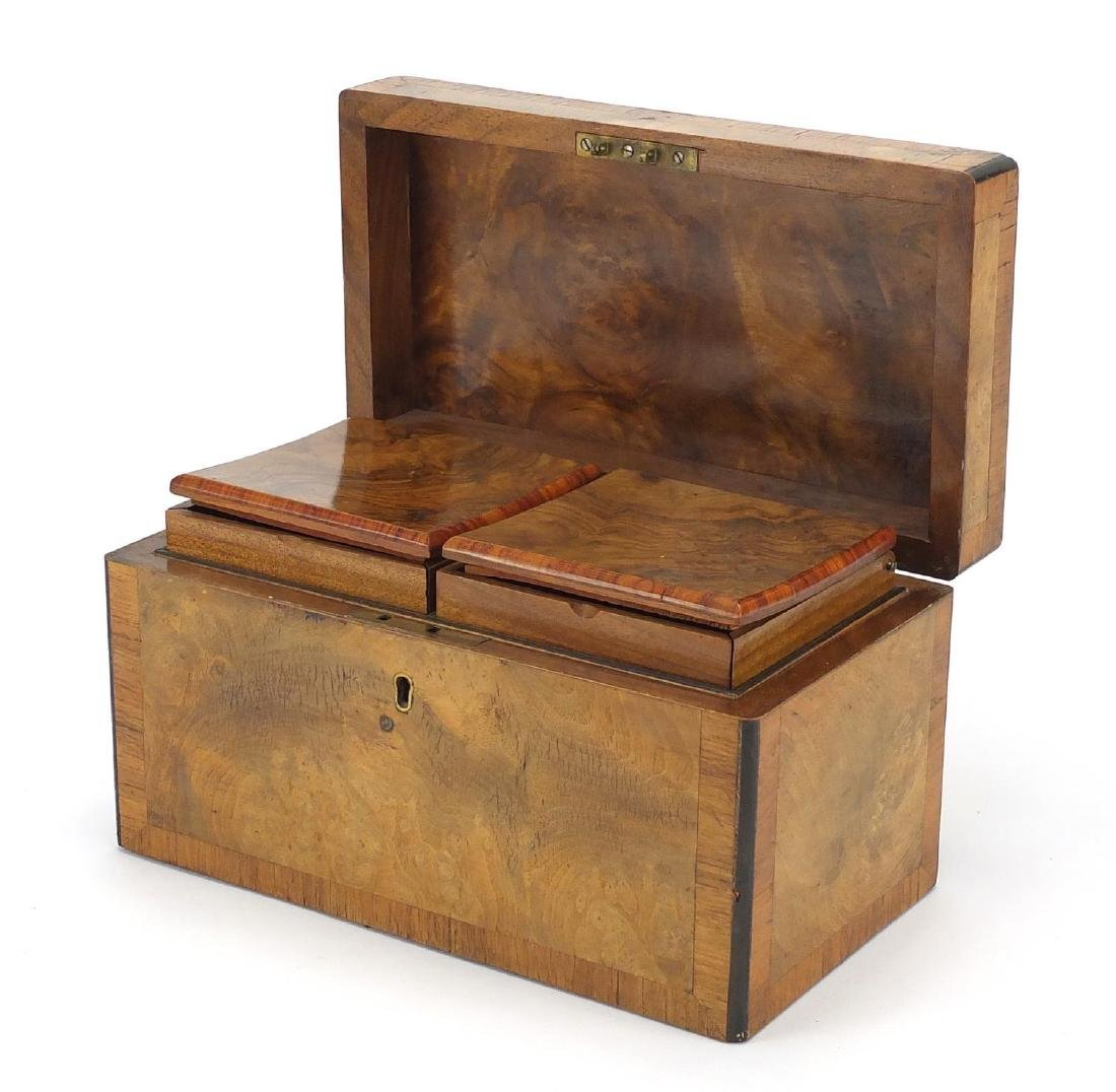 Victorian cross banded walnut tea caddy with twin divisional interior, 14.5cm high x 15.5cm wide