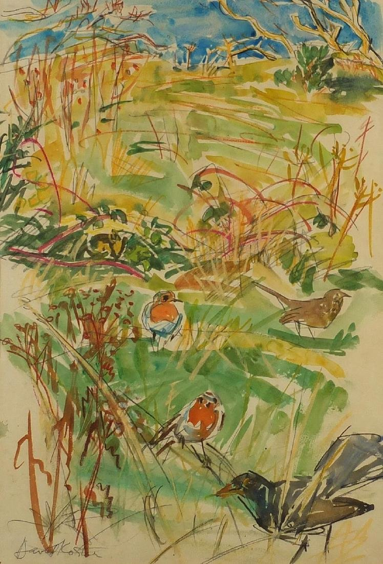 David Koster - Robins and Blackbirds, watercolour and pastel, label verso, mounted, unframed, 57cm x