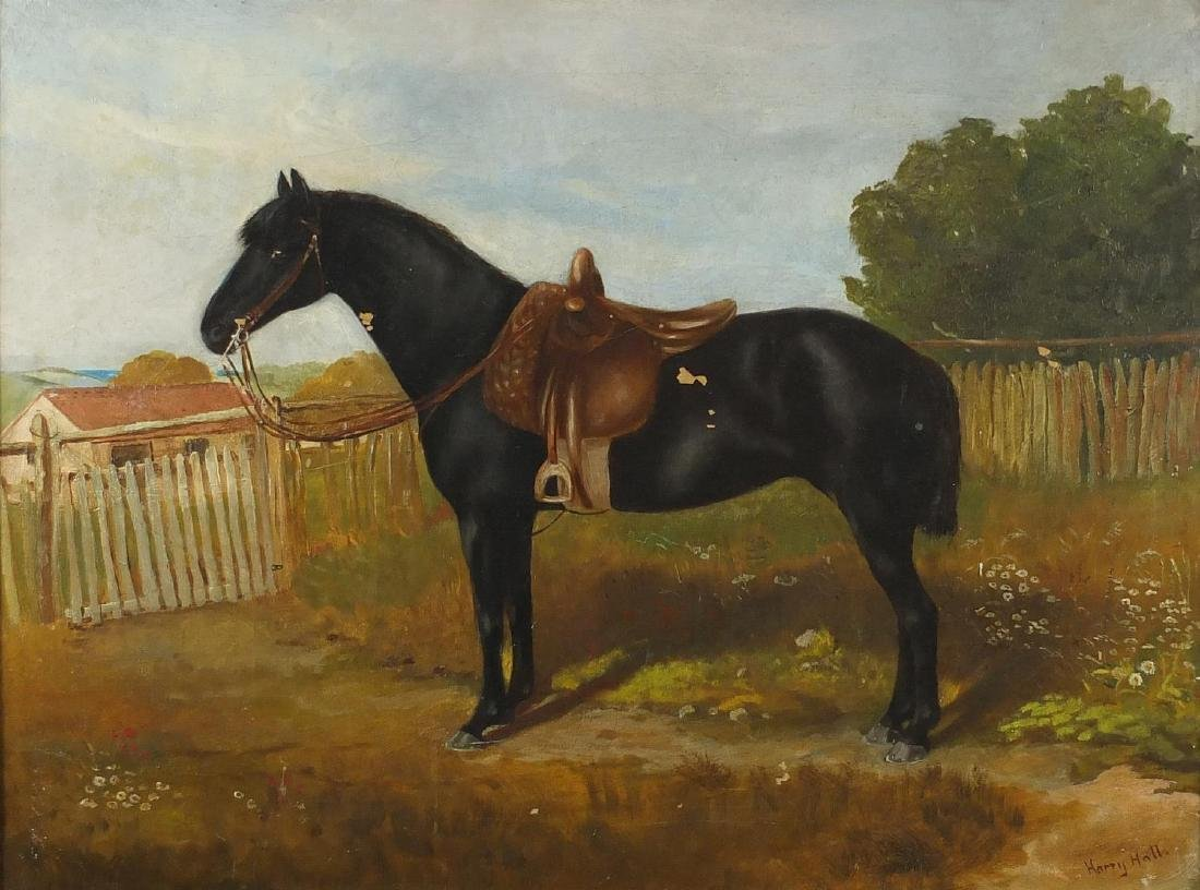 After Harry Hall - Portrait of a horse, 19th century oil on canvas, framed, 59cm x 44cm Further