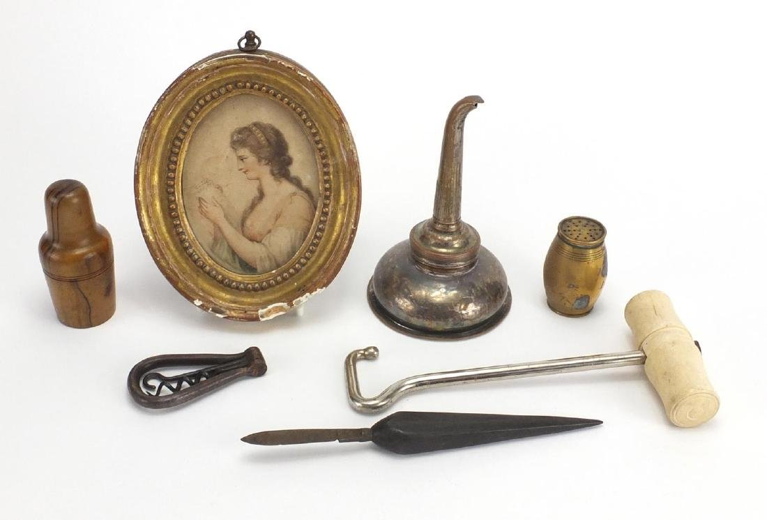 Miscellaneous antique and later objects including an oval portrait miniature of a female, bone