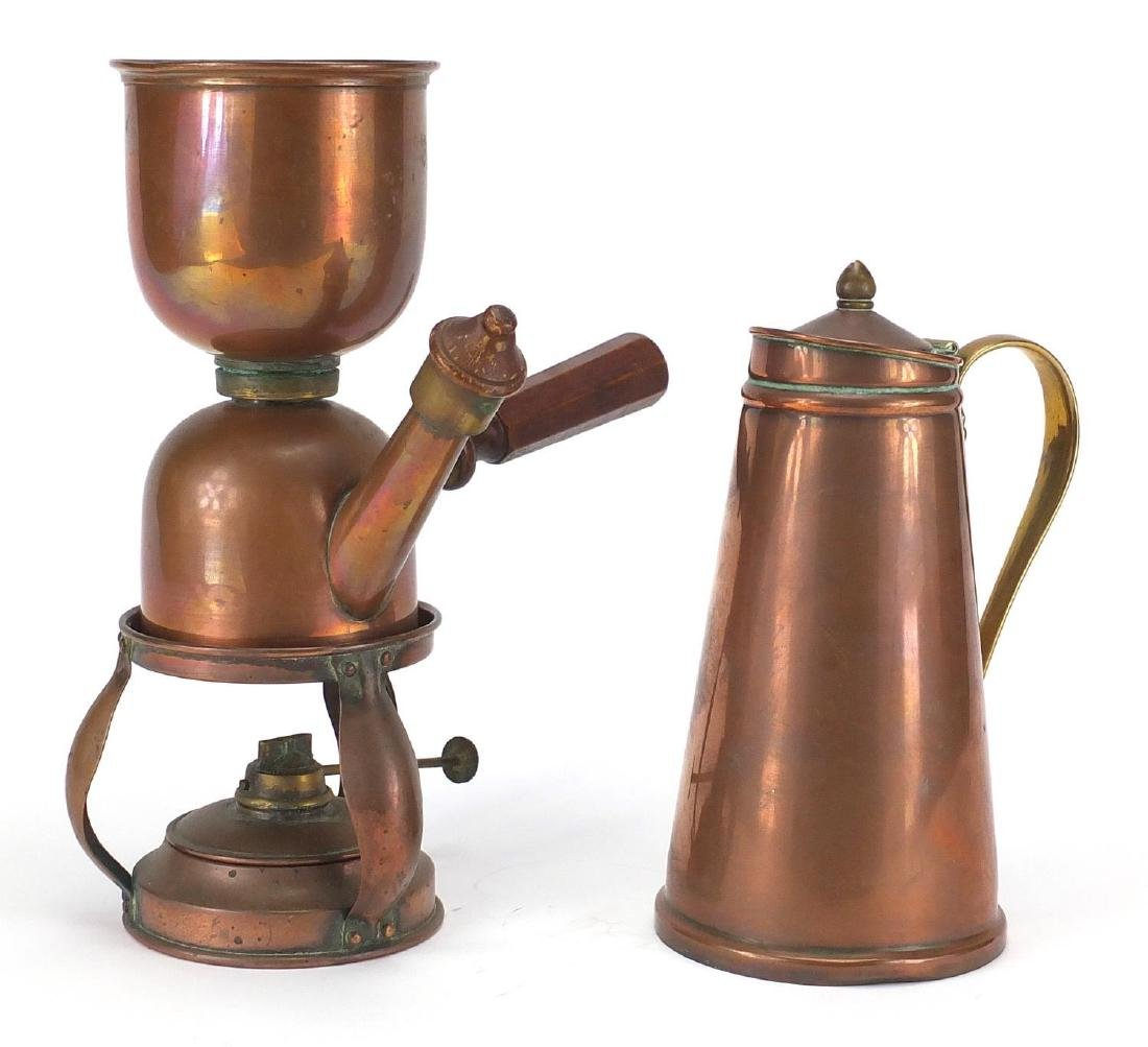 Arts & Crafts copper coffee maker and copper and brass jug by Benson, the coffee maker by Picards