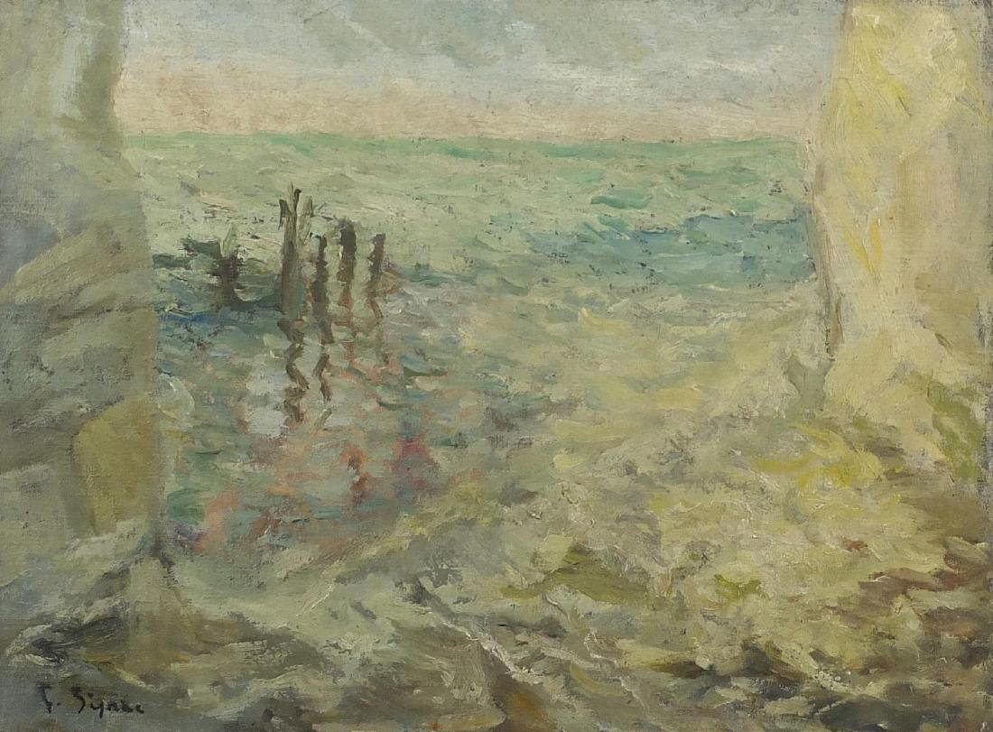 Coastal scene, oil on canvas, bearing a signature Sima, framed, 41cm x 29cm Further condition