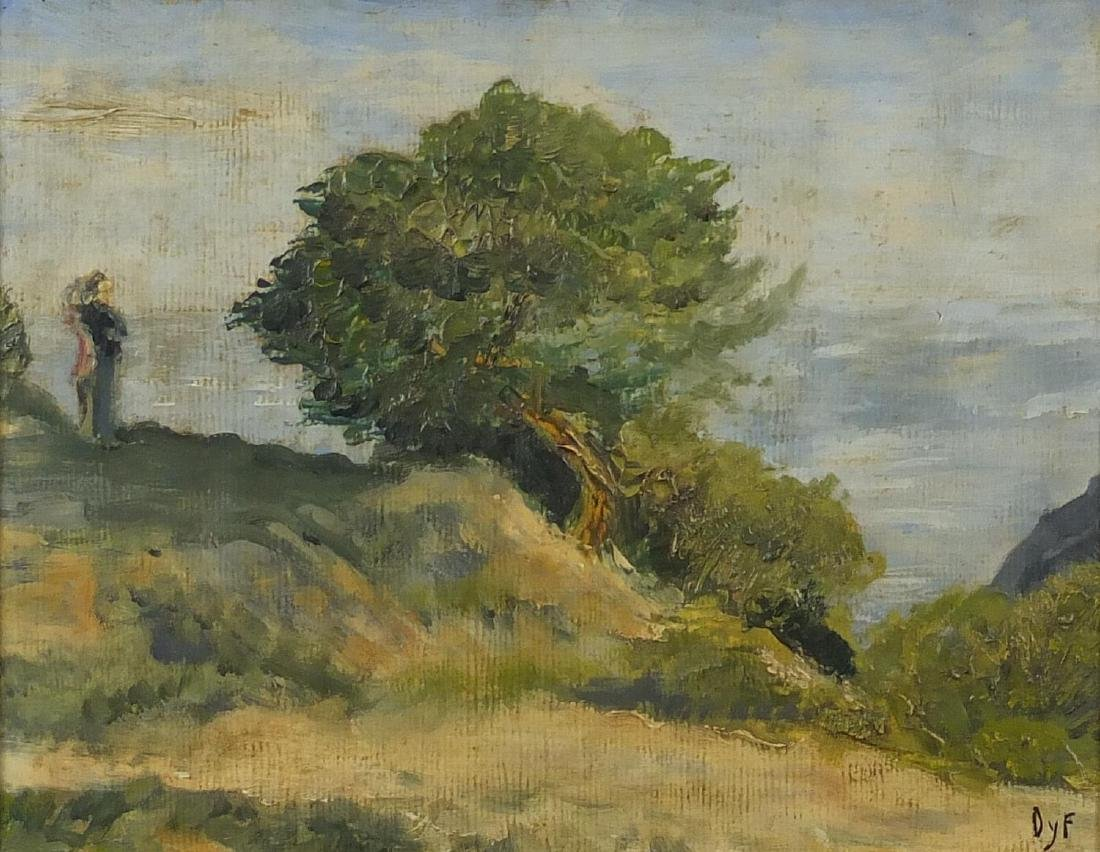 Manner of Marcel Dyf - Female on a hill top, oil on paper, label verso, mounted and framed, 25cm x