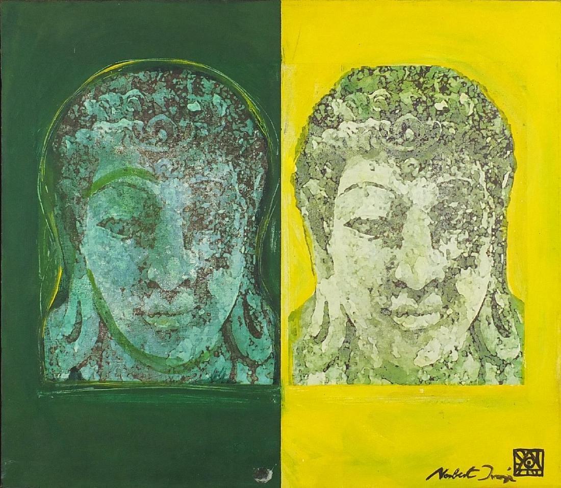 Norbert Ivanyi 2001 - Tatiapi Buddha, mixed media on canvas, inscribed verso, framed, 48.5cm x 42.