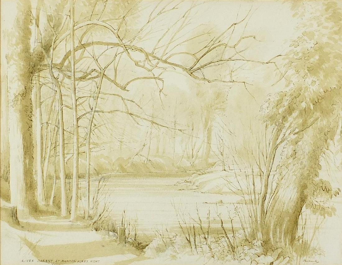 Shimwell - River Darent at Horton Karby Kent, ink and wash, mounted and framed, 35cm x 27.5cm