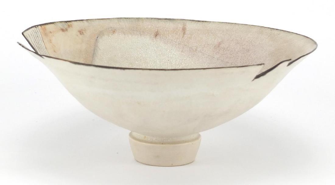 David Howard Jones Raku bowl with flared rim, incised initials around the foot rim, 19cm in diameter