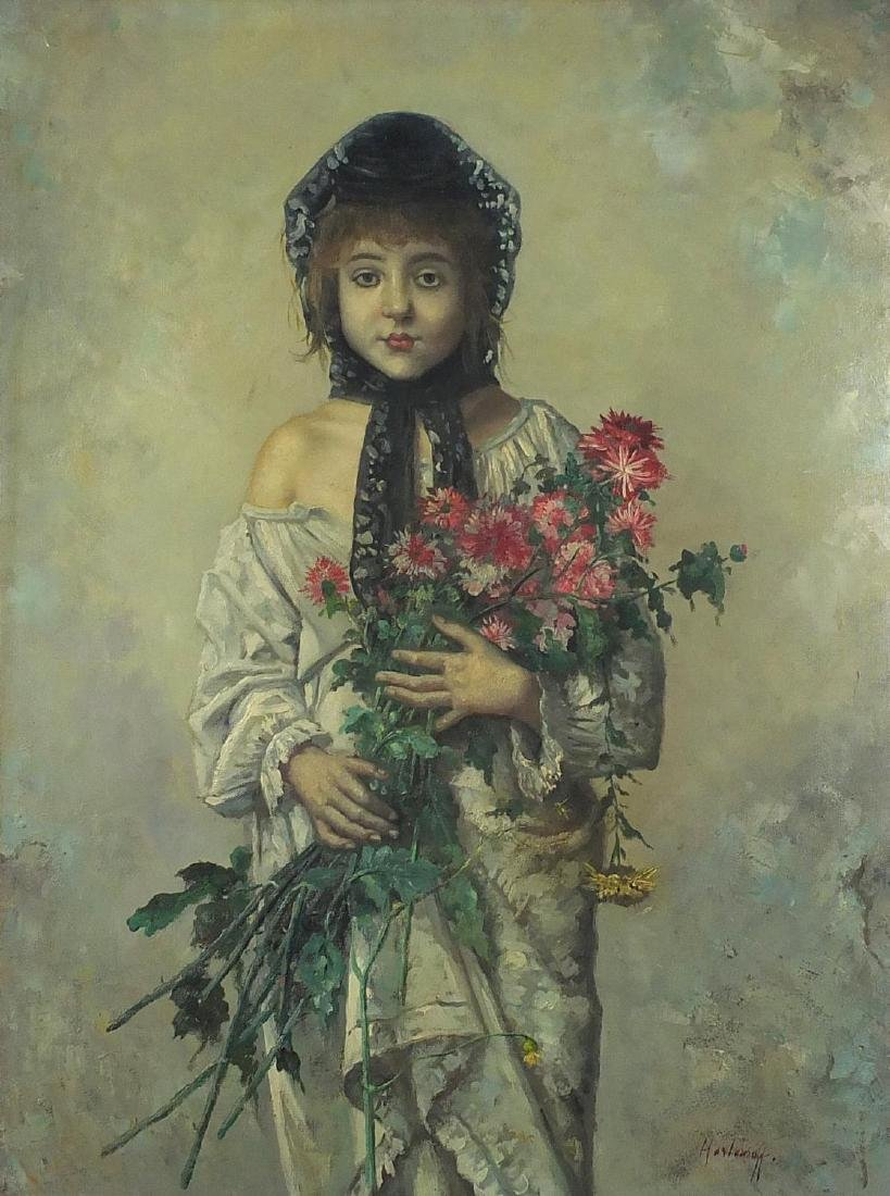 Young girl holding flowers, Russian school oil on board, bearing a signature Harlenof and