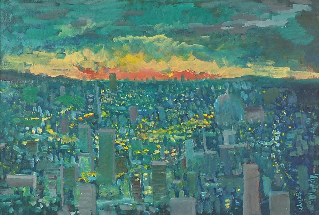 Eric Sthyr - City by night, oil on board, framed, 58cm x 39.5cm Further condition reports can be