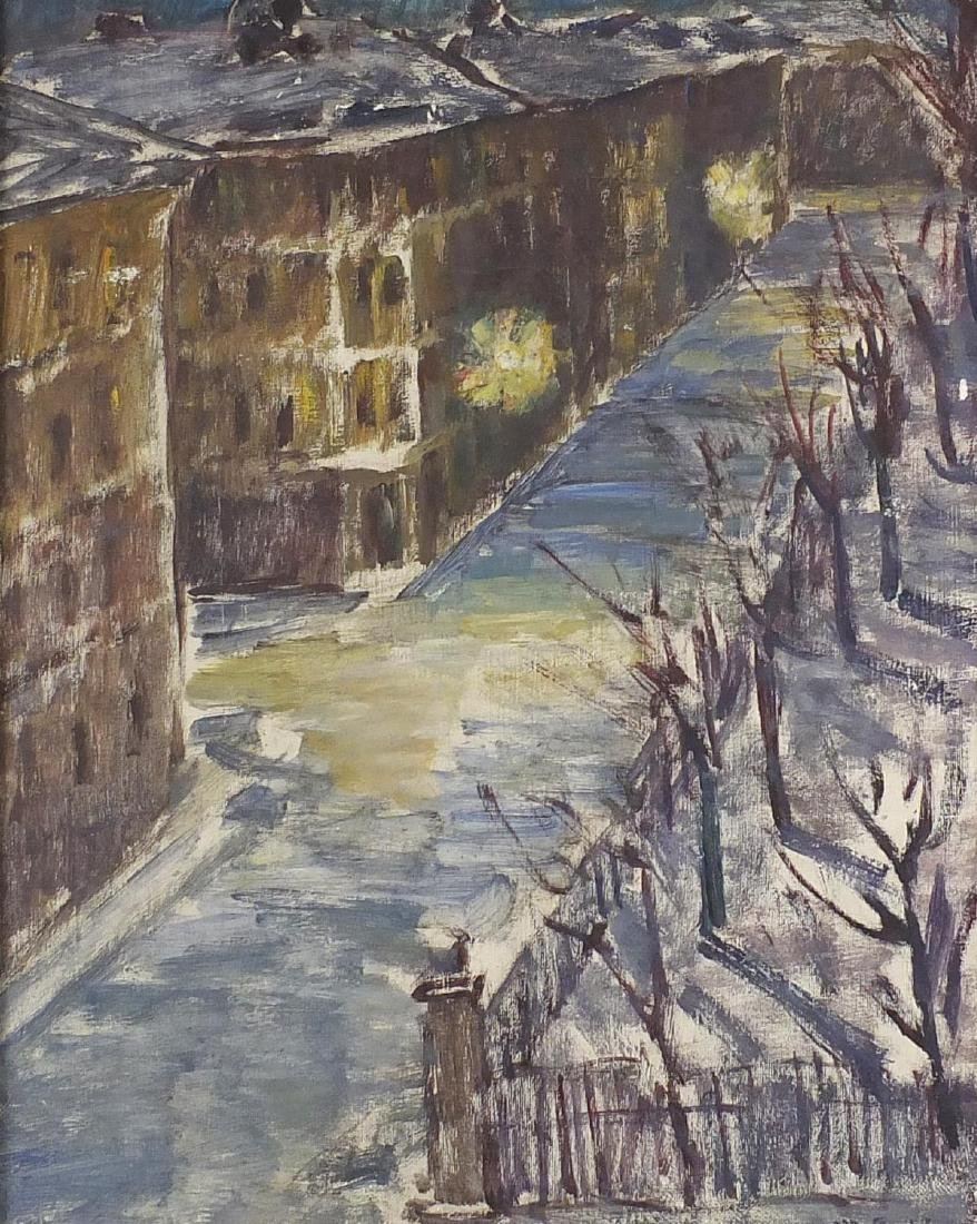 Night time street scene, German school oil on canvas, bearing a signature M Pe...? and inscribed